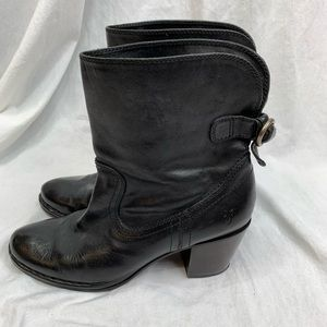 Frye Lucinda Black Leather Short Boots 7.5